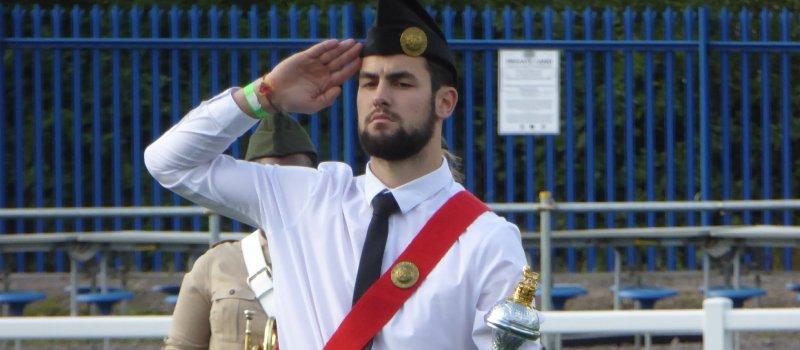 1st Minster BB/GB Drum Major Saluting