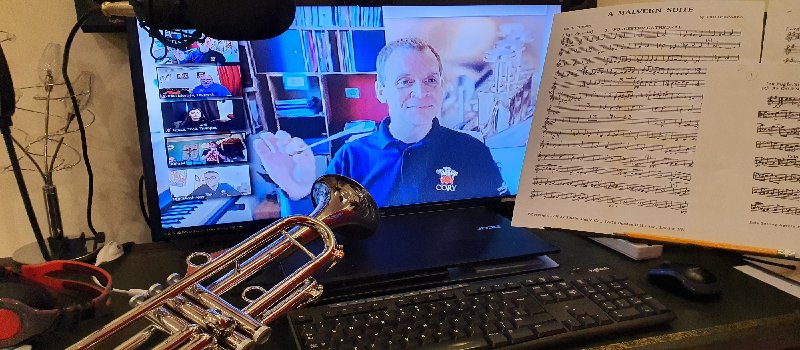 Cory Band director Philip Harper delivering a virtual masterclass